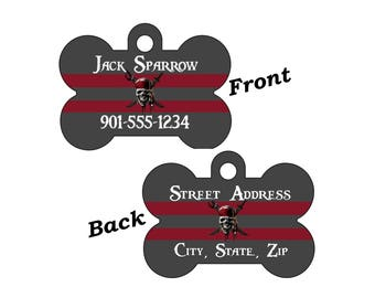 Disney Pirates of the Caribbean Double Sided Pet Id Dog Tag Personalized for Your Pet