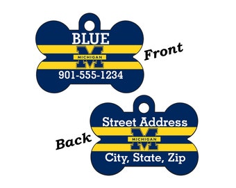 Michigan Wolverines Double Sided Pet Id Tag for Dogs and Cats Personalized for your Pet