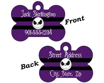 Disney Jack Skellington Custom Double Sided Pet Id Dog Tag Personalized for your Pet