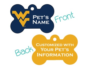 West Virginia Mountaineers 2-Sided Pet Id Dog Tag | Officially Licensed | Personalized for Your Pet