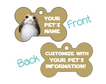 Disney Star Wars Porg Double Sided Pet Id Dog Tag Personalized w/ 4 Lines of Text