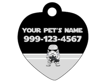 Disney Star Wars Stormtrooper Pet Id Tag for Dogs and Cats Personalized w/ Your Pet's Name & Number