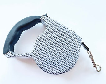 Gray Striped Retractable Dog Walking Leash / 16ft Cord / Smooth, No-Slip Handle / Sturdy Nylon Cord