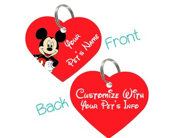 Disney Mickey Mouse Double Sided Heart Pet Id Tag for Dogs & Cats Personalized for Your Pet