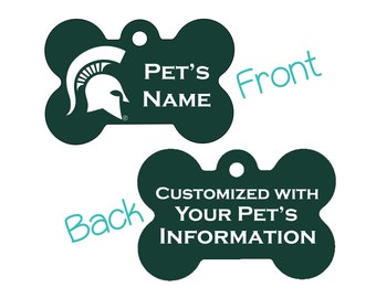 Michigan State Spartans 2-Sided Pet Id Dog Tag | Officially Licensed | Personalized for Your Pet