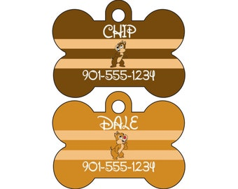 Disney Chip and Dale Dog Tag Pet Id Personalized w/ Name & Number