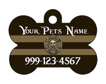Pirates of the Caribbean Pet Id Dog Tag Personalized w/ Your Pet's Name and Number