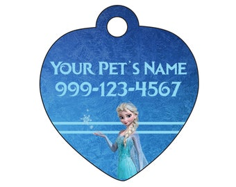 Disney Elsa Frozen Pet Id Tag for Dogs and Cats Personalized w/ Name & Number