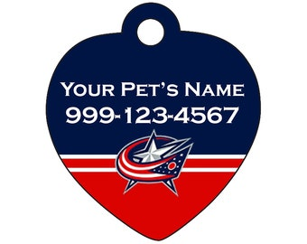 Columbus Blue Jackets Pet Id Tag for Dogs & Cats | Personalized for Your Pet | Fits all Dogs and Cats!