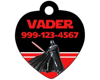 Disney Star Wars Darth Vader Pet Id Tag for Dogs and Cats Personalized w/ Your Pet's Name & Number