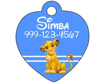 Disney The Lion King Simba Pet Id Tag for Dogs and Cats Personalized w/ Your Pet's Name & Number