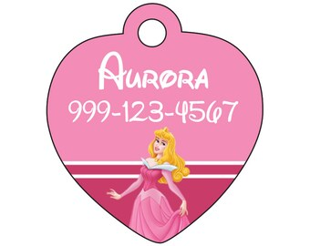 Disney Princess Aurora Custom Pet Id Tag for Dogs and Cats Personalized w/ Name & Number