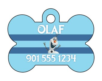 Disney Frozen Olaf Custom Pet Id Dog Tag Personalized w/ Your Pet's Name & Number