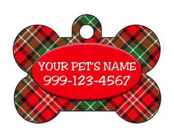 Plaid Christmas Themed Custom Pet Id Dog Tag Personalized w/ Your Pet's Name & Number