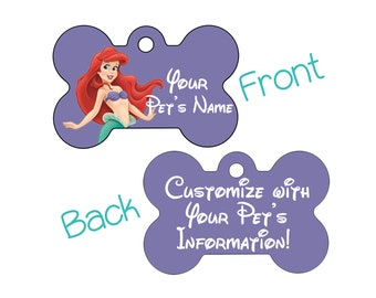 Disney Ariel Double Sided Pet Id Dog Tag Personalized for Your Pet