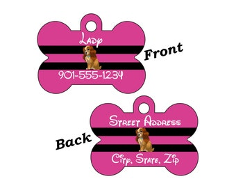 Disney Lady & the Tramp Custom Double Sided Pet Id Dog Tag Personalized for your Pet