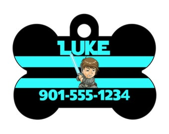 Disney Star Wars Luke Skywalker Pet Id Tag for Dogs and Cats Personalized w/ Your Pet's Name & Number