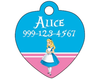 Disney Alice in Wonderland Custom Pet Id Tag for Dogs & Cats Personalized w/ Name and Number