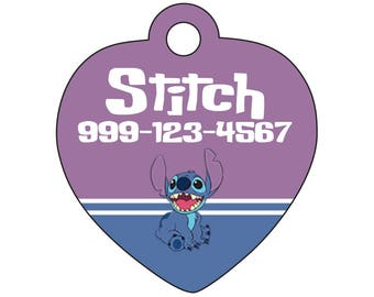 Personalized Disney Lilo & Stitch Pet Id Tag for Dogs and Cats