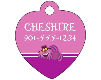 Disney Alice in Wonderland Cheshire Cat Pet Id Tag Personalized w/ Your Pet's Name & Number