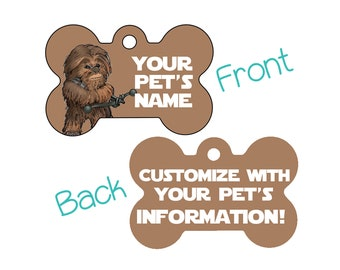 Disney Star Wars Chewbacca Double Sided Pet Id Dog Tag Personalized for your Pet