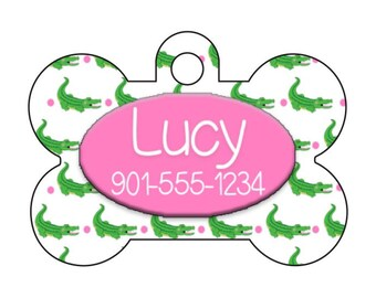 Cute Alligators Pet Id Dog Tag Personalized w/ Your Pet's Name & Number, Available in 8 Colors!