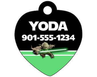 Disney Star Wars Yoda Personalized Dog Tag Cat Tag Pet Id w/ Your Pet's Name & Number