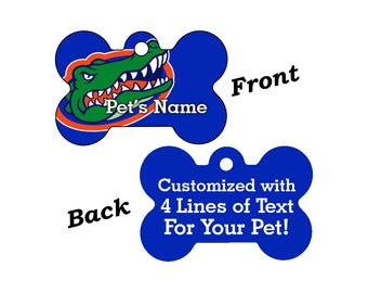 Florida Gators Double Sided Pet Id Tag for Dogs and Cats Personalized w/ 4 Lines of Text