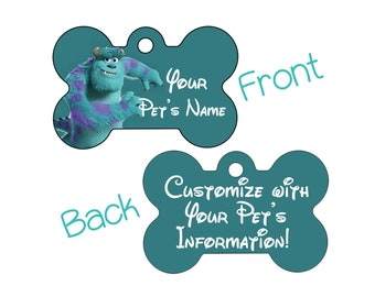 Disney Monster's Inc Sulley Double Sided Pet Id Dog Tag Personalized w/ 4 Lines of Text