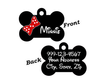 Cute Minnie Bow Pet Id Dog Tag Personalized w/ Your Pet's Name & Number