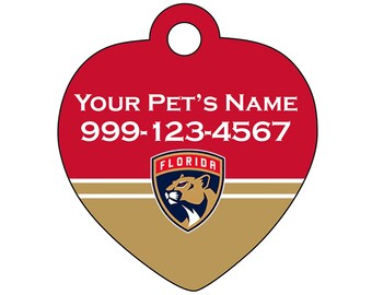 Florida Panthers Pet Id Tag for Dogs & Cats | Personalized for Your Pet | Fits all Dogs and Cats!