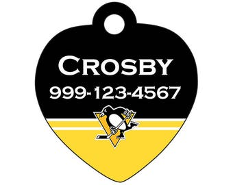 Pittsburgh Penguins Pet Id Tag for Dogs & Cats Personalized w/ Your Pets Name and Number