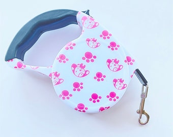 Stylish Cute Paw Prints Retractable Dog Walking Leash / 16ft Cord / Smooth, No-Slip Handle / Sturdy Nylon Cord
