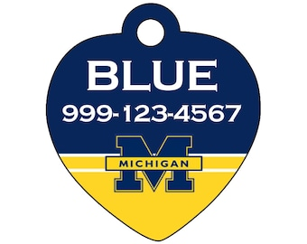 Michigan Wolverines Custom Pet Id Tag for Dogs and Cats Personalized w/ Name & Number
