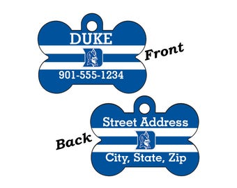 Duke Blue Devils Double Sided Pet Id Dog Tag Personalized w/ 4 Lines of Text
