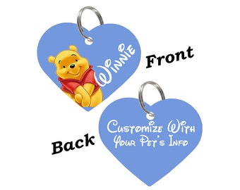Disney Winnie the Pooh Double Sided Pet Id Tag for Dogs & Cats Personalized for Your Pet