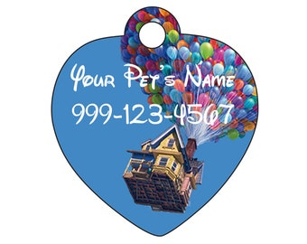 Disney Up Balloons Pet Id Tag for Dogs and Cats Personalized w/ Your Pet's Name & Number