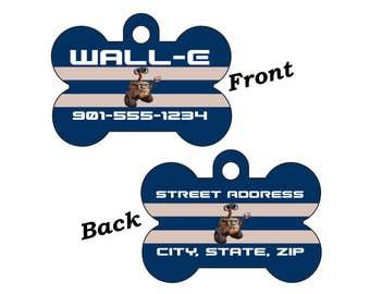 Disney Wall-E Double Sided Pet Id Dog Tag Personalized w/ 4 Lines of Text