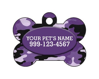 Fashionable Cute Purple Camo Pet Id Dog Tag Personalized for Your Pet