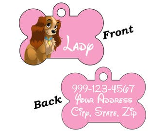 Disney Lady & the Tramp Double Sided Pet Id Dog Tag Personalized for Your Pet