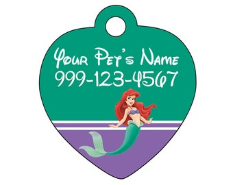 Disney Ariel Pet Id Tag for Dogs and Cats Personalized w/ Your Pet's Name & Number