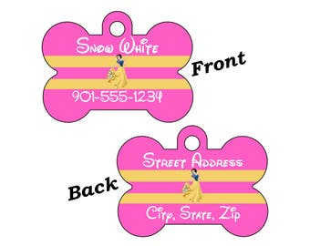 Disney Princess Snow White 2-SIDED Pet Id Tag for Dogs and Cats Personalized w/ 4 Lines of Text