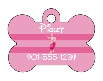 Disney Piglet Winnie the Pooh Pet Id Dog Tag Personalized w/ Name & Number