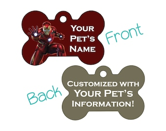 Iron Man | Disney Marvel Double Sided Pet Id Dog Tag | Personalized for your Pet
