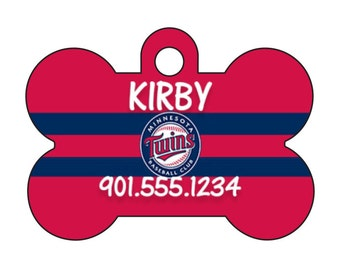 Minnesota Twins Personalized Dog Tag Pet Id Tag w/ Your Pet's Name and Number