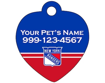 New York Rangers Pet Id Tag for Dogs & Cats | Personalized for Your Pet | Fits all Dogs and Cats!