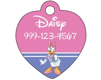 Disney Daisy Duck Pet Id Tag for Dogs and Cats Personalized w/ Your Pet's Name & Number