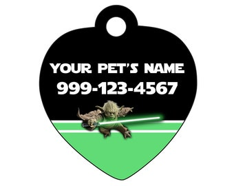 Disney Star Wars Yoda Pet Id tag for Dogs and Cats Personalized w/ Your Pet's Name & Number