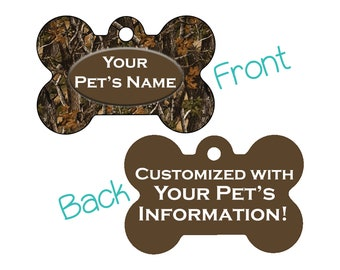 Camo Double Sided Pet Id Dog Tag | Realtree Outdoor Camo | Personalized for your Pet!