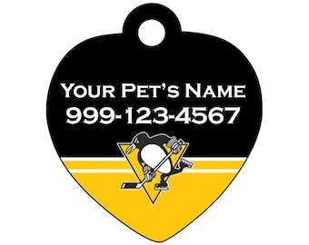 Pittsburgh Penguins Pet Id Tag for Dogs & Cats | Personalized for Your Pet | Fits all Dogs and Cats!